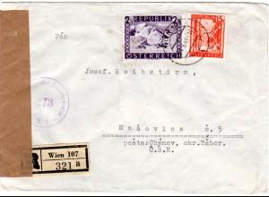 Österreich 1948, 2,15 S. Sonderporto f. Reko Brief v. Wien i.d. Tschechoslowakei