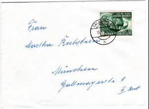 Österreich 1956, EF 2,40 S. 10 Jahre UNO auf Brief v. Salzburg