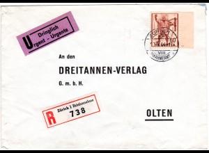 Schweiz 1944, 60 C. m. Bogenrand u. Druckzeichen auf Reko Brief v. Zürich