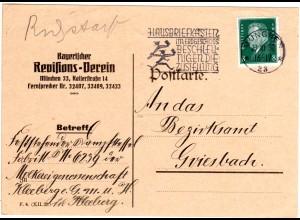 DR 1930, Hausbriefkasten Post Zustellung Werbe Stpl. auf Karte v. München