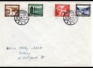 DR 1936, 4 WHW Marken m. Brücken auf Brief v. Coburg.