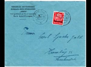 Luxemburg 1941, 12 Pf. auf Firmen Brief der Hüttenwerke BURBACH EICH DÜDELINGEN