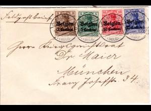 Belgien 1915, Brief m.4 Marken v. Charleroi an einen Kriegsgerichtsrat n. Bayern