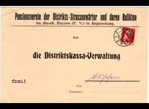 Bayern 1912, Pensionsverein d. Strassenwärter, Brief m. 10 Pf. v. Regensburg