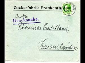 Bayern 1919, 5 Pf. Freistaat auf Firmen Brief d. Zuckerfabrik FRANKENTHAL