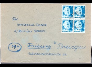 Rheinland-Pfalz 1949, 4er-Block 5 Pf. Marx auf Brief v. Ludwigshafen