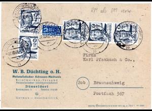 Württemberg 1949, MeF 5x2 Pf. auf Karte v. Düsseldorf. RM als DM verwendet!