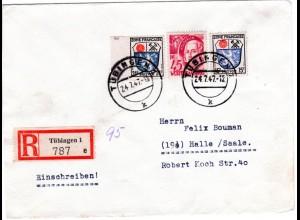 Franz. Zone 1947, 15+24 in MiF m. 45 Pf. auf Einschreiben Brief v. Tübingen