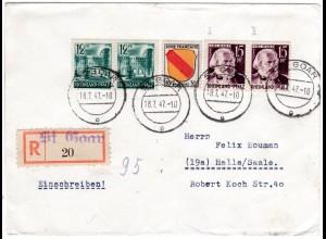 Franz. Zone 1947, Paar 12+15 Pf. in MiF m. 30 F. auf Einschreiben Brief v. Goar