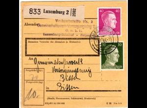 Luxemburg 1944, 30+40 Pf. Hitler auf Paketkarte n. Bitten
