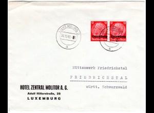 Dt. Besetzung Luxemburg 1940, Paar 12 Pf. auf Hotel Brief