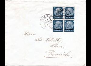 Dt. Besetzung Luxemburg 1941, 4er-Block 4 Pf. auf Brief v. ULFLINGEN
