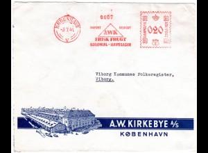 Dänemark 1941, AWK Firmen Freistempel v. Kopenhagen auf illustriertem Umschlag