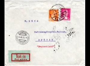Türkei 1935, 20+30 P. auf Flugpost Brief v Galata via Wien Aspern n. Deutschland