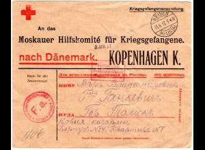 DR 1917, Reisen Kr. Lissa, KGF POW Rotes Kreuz Vordruck Brief n. Dänemark.