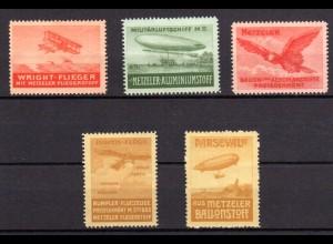 Zeppelin, Parseval, Flugzeuge, 5 schöne Metzeler Vignetten