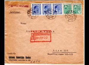 Litauen 1937, 5 Marken auf Brief m. Reko-Stpl. KAUNAS centr. nach Österreich