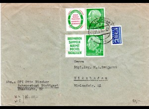 BRD 1955, 2 Zusammendruck Marken aus Heftchen-Blättern auf Brioef v. Stuttgart