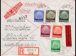Lothringen 1940, 6 Marken auf Eilboten Einschreiben Brief v. Metz. Luftpost?