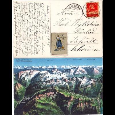 Schweiz, Graubündner Klausenstrasse, Farb-Panorama AK, ab Luzern n. Schweden