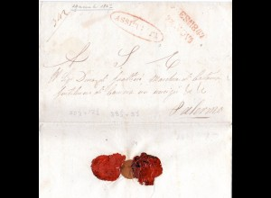 Italien Sicilia 1847, L2 Messina u. Oval-Stpl. ASSICURATA auf Brief n. Palermo