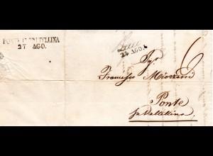 Italien Lombardei 1845, L2 Lecco auf Brief m. rs. Ank.Stpl. Ponte In Valtellina