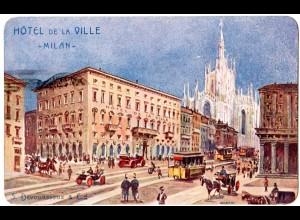 Italien 1906, Hotel De La Ville, AK m. 10 C. u. Sonderstpl. Esposizione Milano