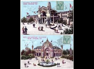 Italien 1906, Sonderstpl. Esposizione Milano auf 2 Ausstellungs Farb-AK