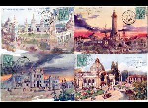 Italien 1906, Sonderstpl. Esposizione Milano auf 4 Ausstellungs Farb-AK