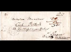 """Frankreich 1848, Porto Brief v. Paris n. Prag, Österreich. Gesamt """"32"""" Kreuzer"""