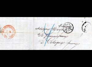 Frankreich 1860, Brief v. Paris n. Preussen m. Porto Stpl. 4Sgr