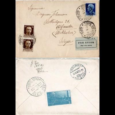Italien 1936, Paar 30 c.+1,25 L. auf Luftpost Brief v. Napoli n. Schweden
