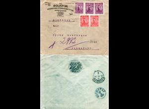 Bulgarien 2x10+3x15 St. auf Firmen Reko Brief v. Sofia via GB n. Schweden