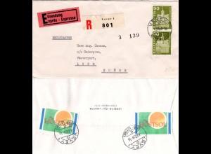 Schweiz 1964, MeF Paar 90 C. auf Reko Express Brief v. Vevey n. Schweden