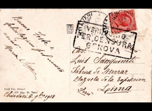 Italien 1918, 10 C. auf Karte v. Chiavari m. GENOVA Zensur n. Peru! Destination!