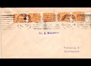 Finnland 1919, 5er-Streifen 2 P. auf Brief m. Maschinenstempel v. Helsinki