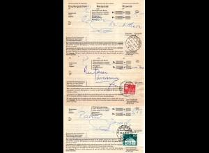 Schweiz, 3 verschieden frankierte Postscheine Recepisse v. Biel Bienne