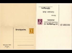 Schweiz, ungebr. 2+15 C. Privat Ganzsache Doppelkarte