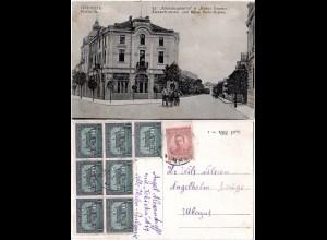 Bulgarien 1920, 3+7x1 St. auf sw-AK v. PLEWEN m. Pferdekutsche