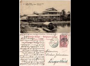 Belgien Congo, v. BOMA gebr. 10 C. Bildganzsache m. Bureau des Postes