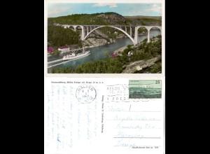 Norwegen 1957, Svinesund Brücke, v. Halden gebr. Farb-AK
