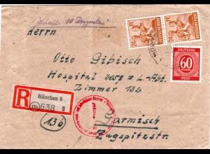 1946, Einschreiben Brief v. München m. Zensur ins Interniertenlager Garmisch