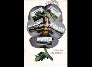 USA, Greetings from New Orleans, 1916 n. Finnland gebr. Mehrbild Farb-AK