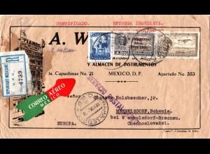 Mexiko 1931. 3 Marken auf Luftpost Einschreiben Brief i.d. Tschechoslowakei