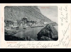Gibraltar 1901, 1d auf sw-AK Catalan Bay n. Schweden
