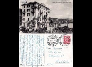 Italien 1938, Santa Margherita Hotel Regina Elena, sw-AK m. Bahnpost Stpl.