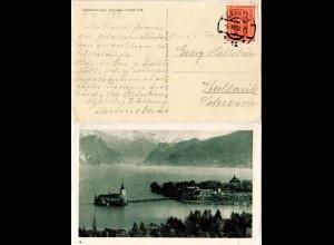 Österreich 1922, EF 45 Kr. portorichtig auf sw-AK v. Gmunden n. Schweden.