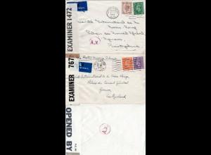 DR Zensur WK II, 2 GB Briefe i.d. Schweiz m. versch. Paris A.x. Durchlaufzensur