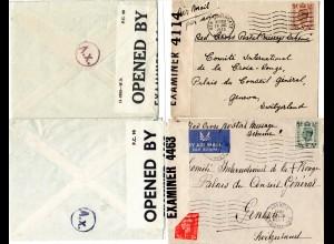 Zensur WK II, 2 GB Briefe i.d. Schweiz m. versch. Paris A.x. Durchlaufzensur