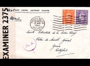 Zensur WK II, GB Brief i.d. Schweiz m. Paris A.x. Durchlaufzensur (Riemer X-32)